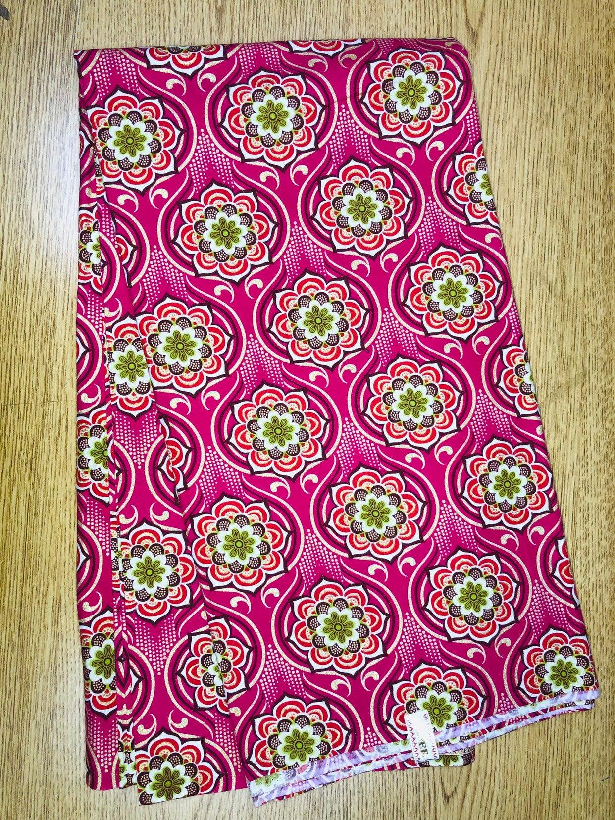 Per Yard Pink Orange Green Gold Flowers Ankara African Print Fabric 1 Yard All Things Ankara Shop