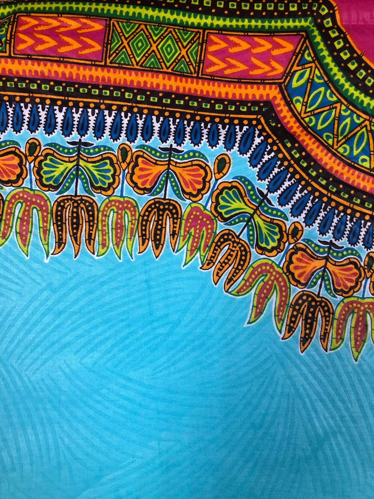 Dashki Fabric African Fashion Ankara Kitenge African: Wholesale Teal Orange Dashiki Wax Prints African Ankara