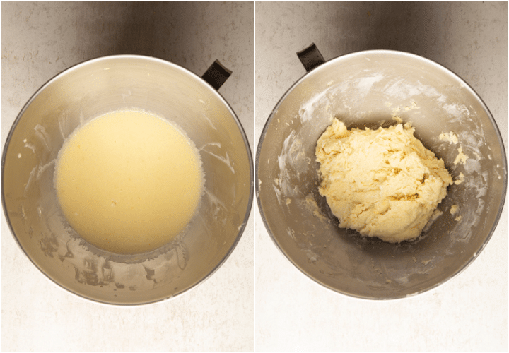 wet mixture mixed in the bowl and mixed into a dough