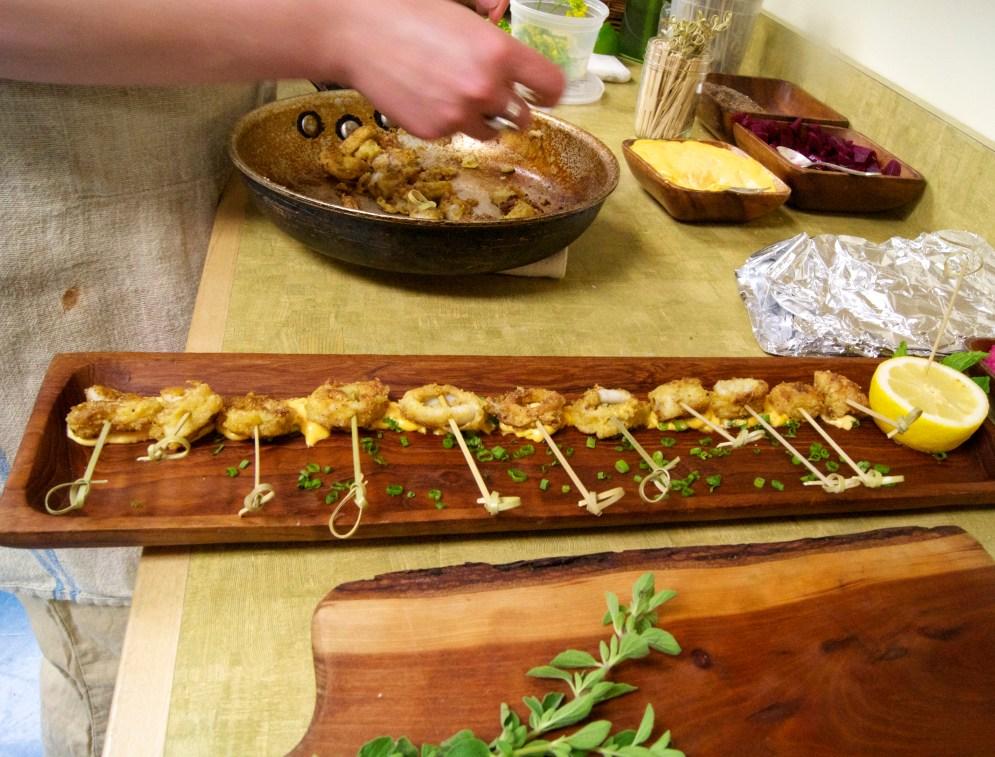 Cornmeal-Crusted Calamari with Spicy Carrot Aioli