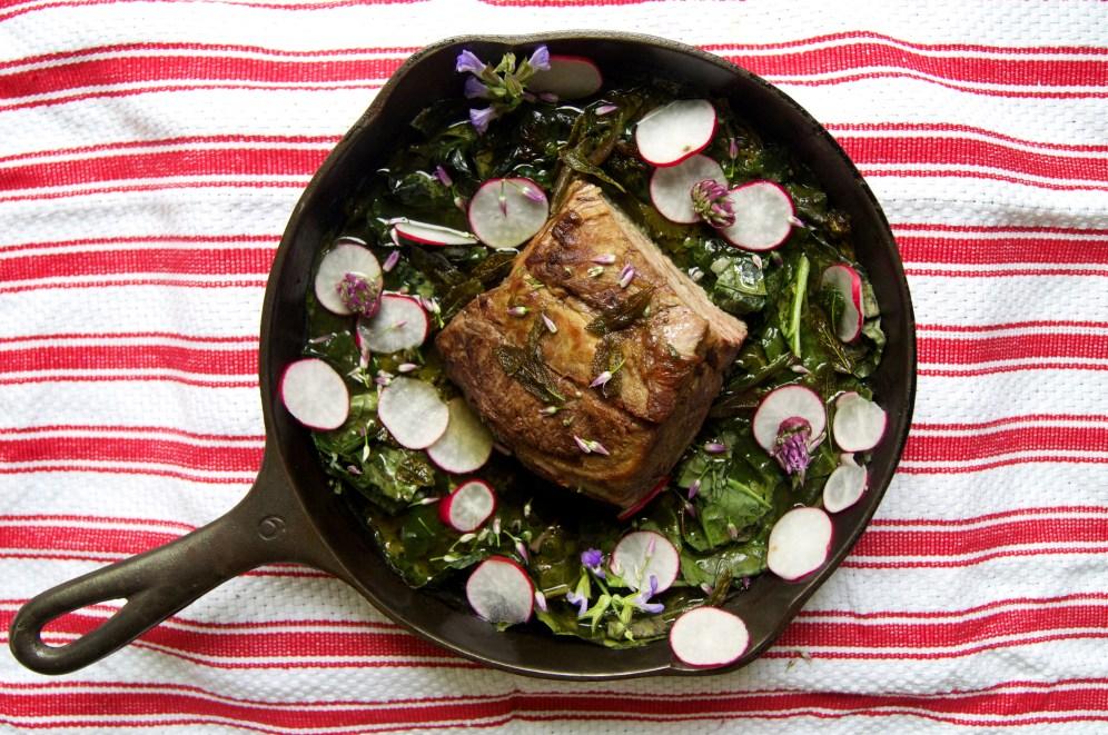 braised tendercrop pork with mustard greens