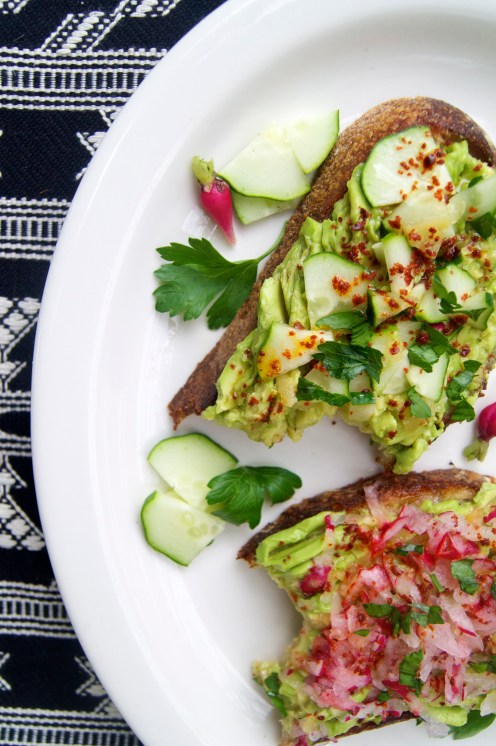 avocado toast with radish, cucumber, and preserved lemon