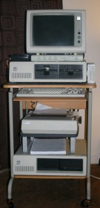 The completed IBM 5150 PC, including the 5161 expansion unit and Microsoft Backpack drive.