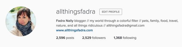 Instagram profile - All Things Fadra