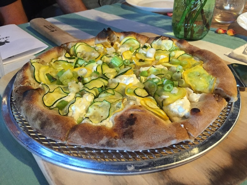 Summer Squash Pizza at Great Frogs Winery