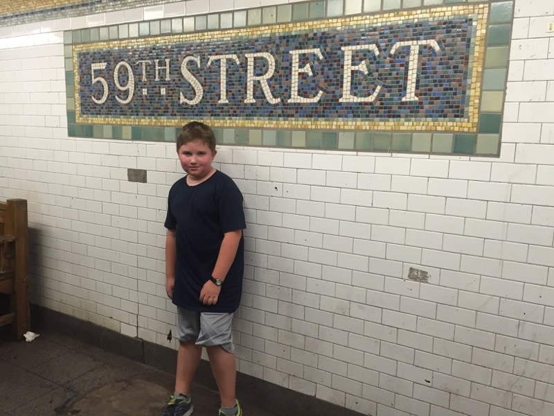 Evan with his hardcore look in the subway