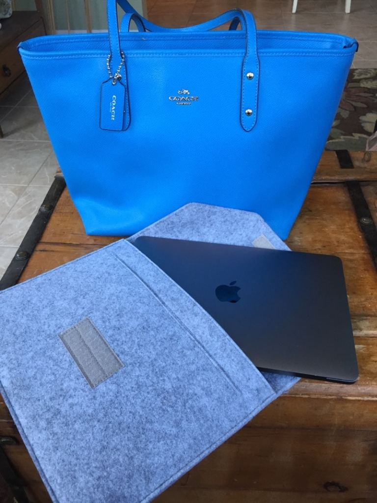 MacBook Pro inside my Coach tote