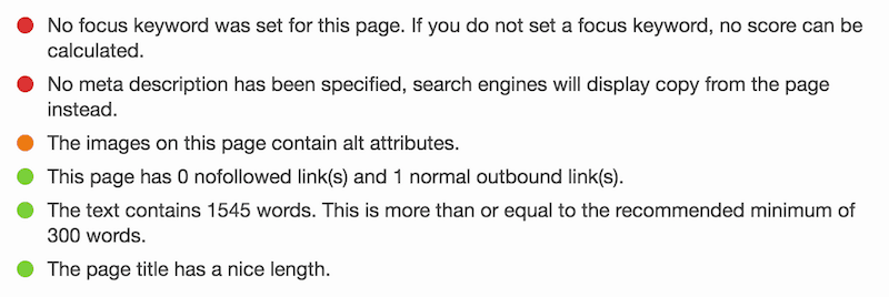 That SEO green light I'm talking about