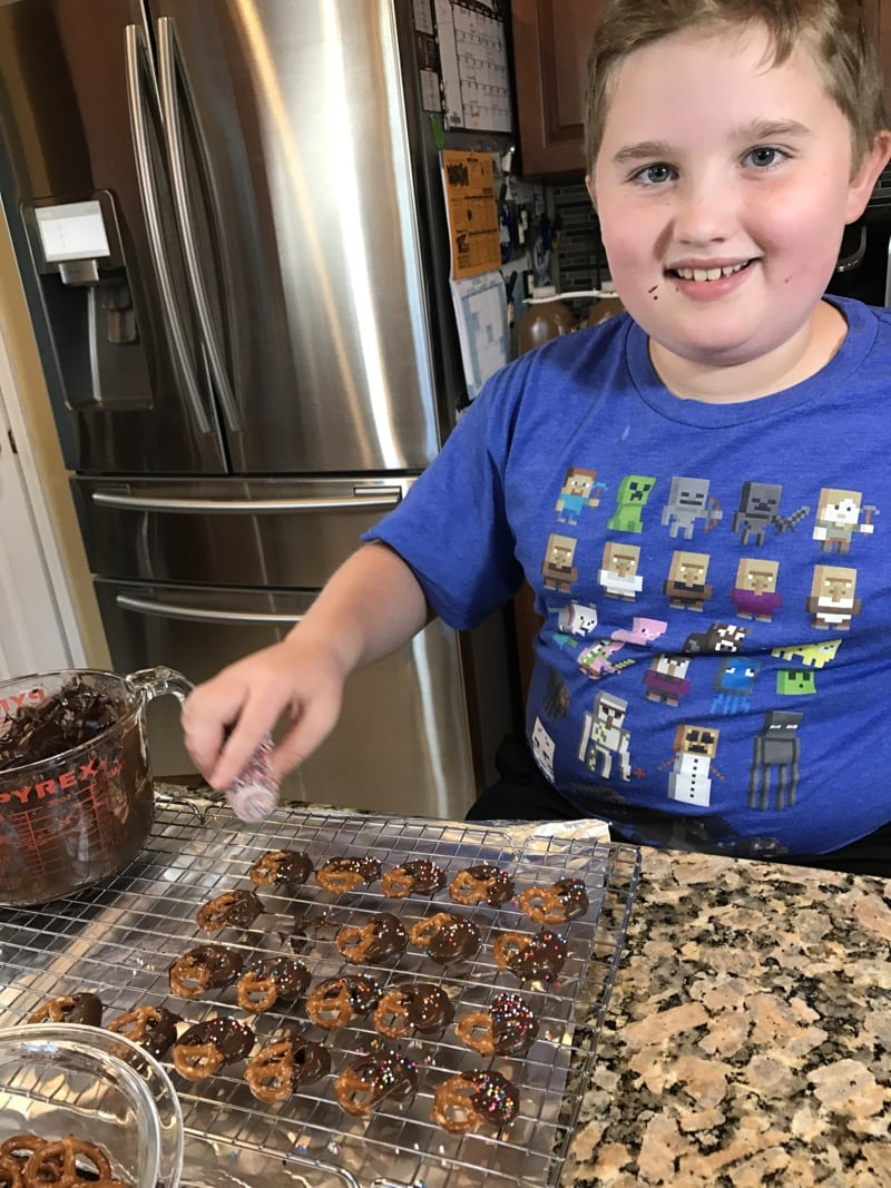 Evan making Chocolate Pretzel Treats