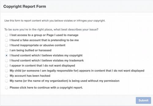 Copyright violation form on Facebook