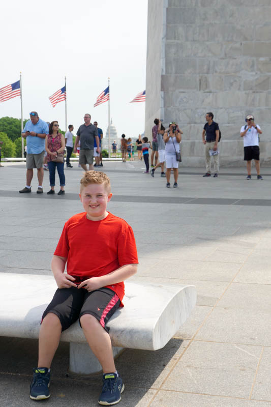 Evan at the monument