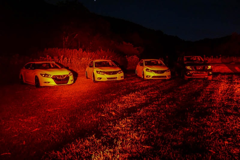 Red lighting for stargazing with Nissan
