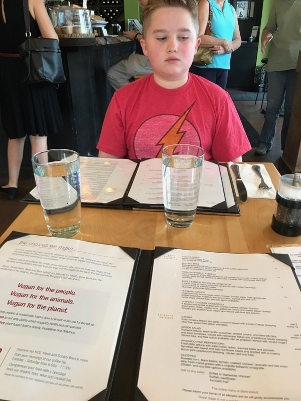 Evan's first vegan meal