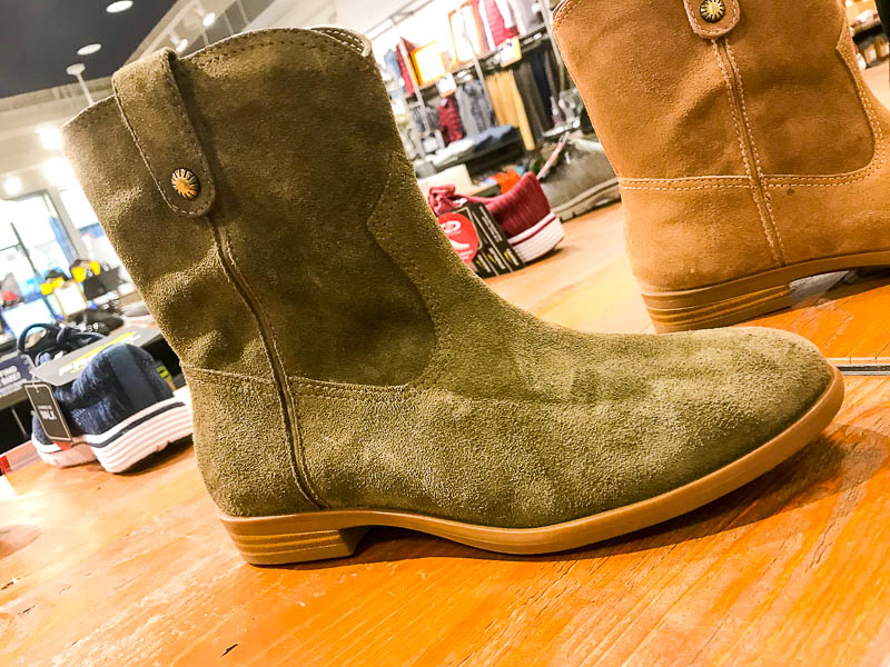 Olive ankle boots at Bass Factory Outlet