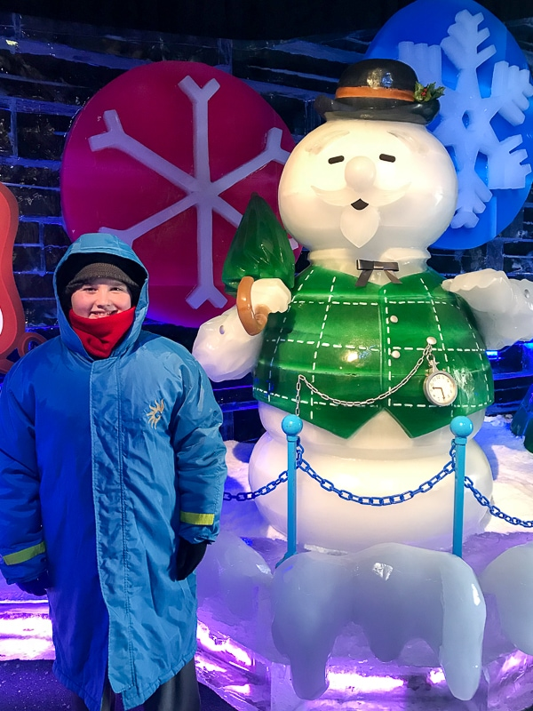 Evan and the snowman at ICE!