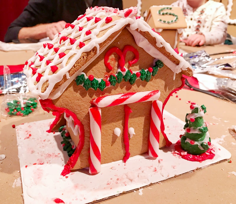 The front of our gingerbread house