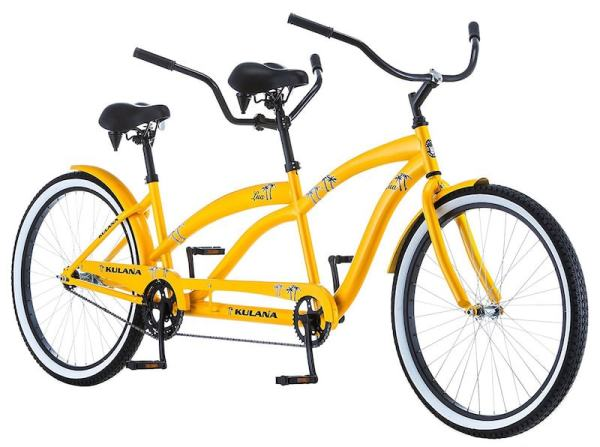 yellow bicycle built for two