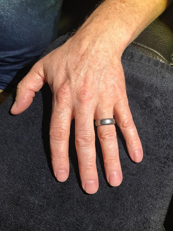 My husband's first manicure