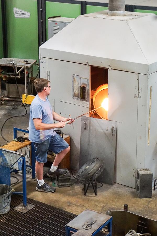 Glassblowers at work at Simon Pearce