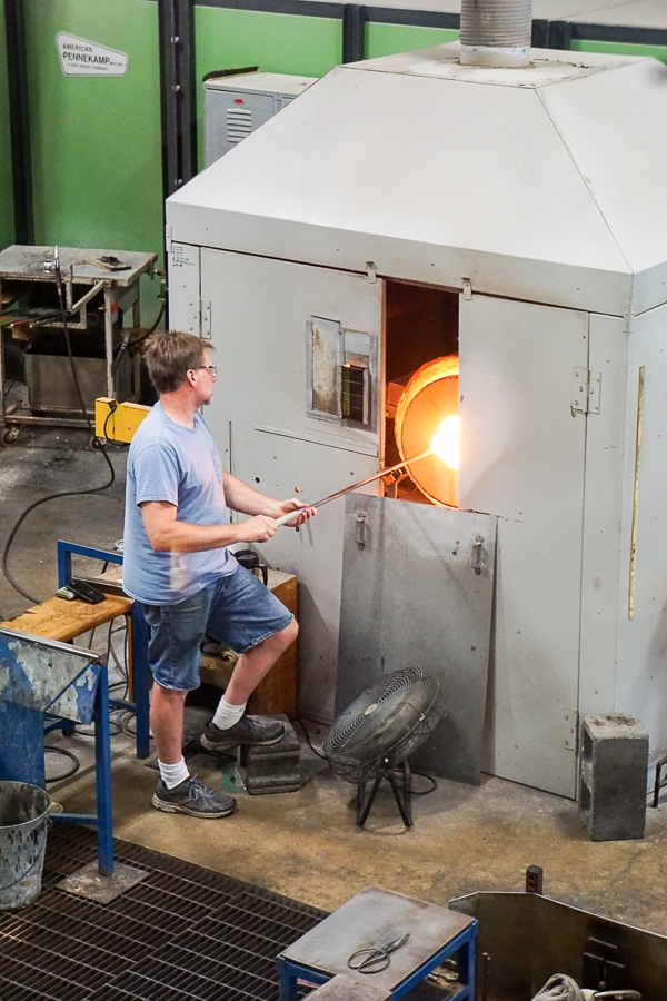 Glassblowers at work at Simon Pearce