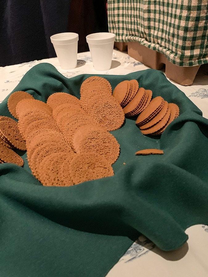 Warm apple cider and Moravian spice cookies are served at the end of the tour