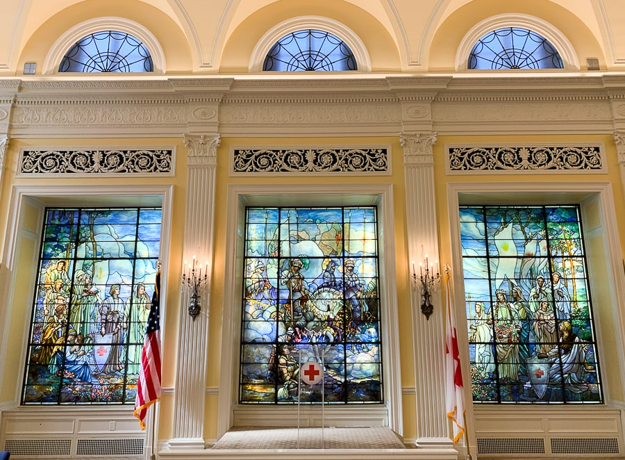 Stained glass Tiffany windows at the American Red Cross
