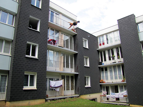 Human Flag Balcony