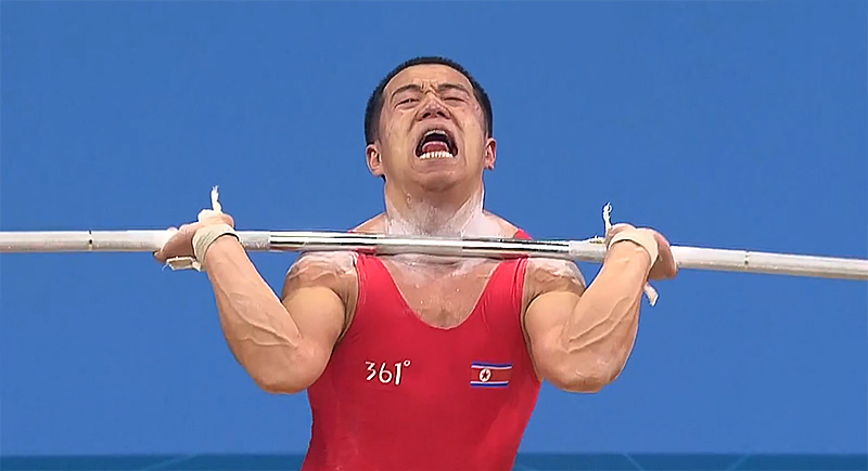 Om Yun Chol Best Korea Tripple Bodyweight Clean Jerk Face Weightlifting Intensity
