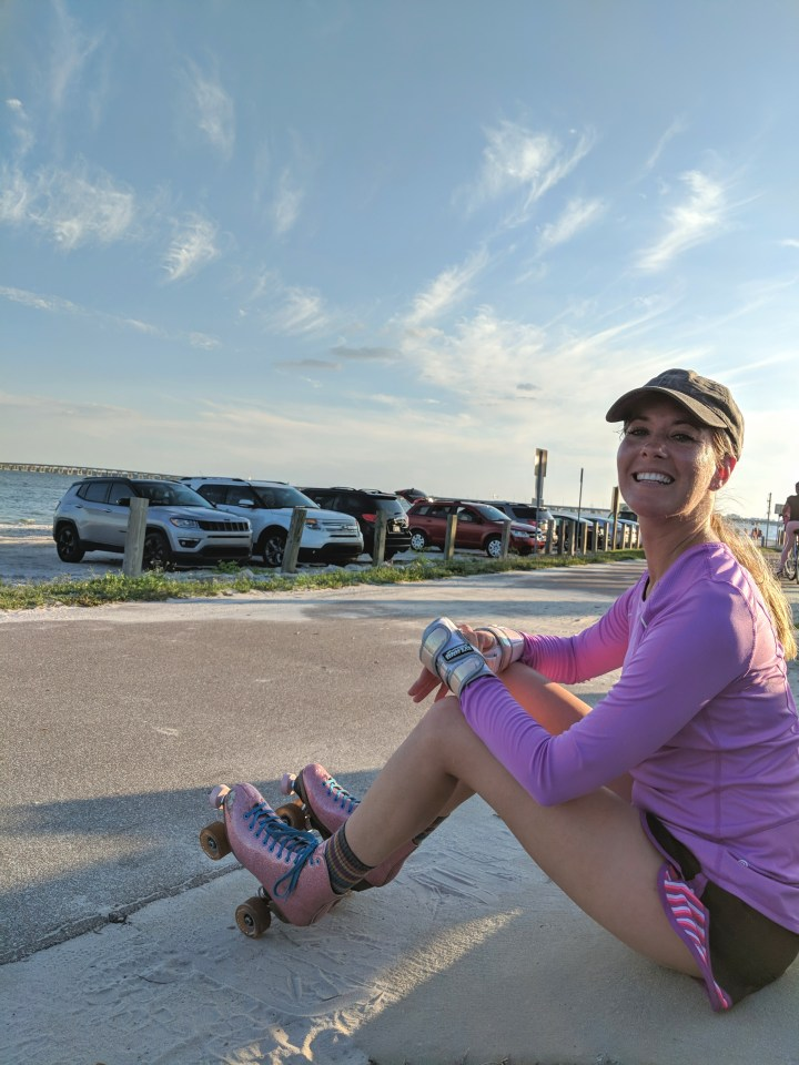 Roller skating Tampa bay. Courtney Campbell Causeway