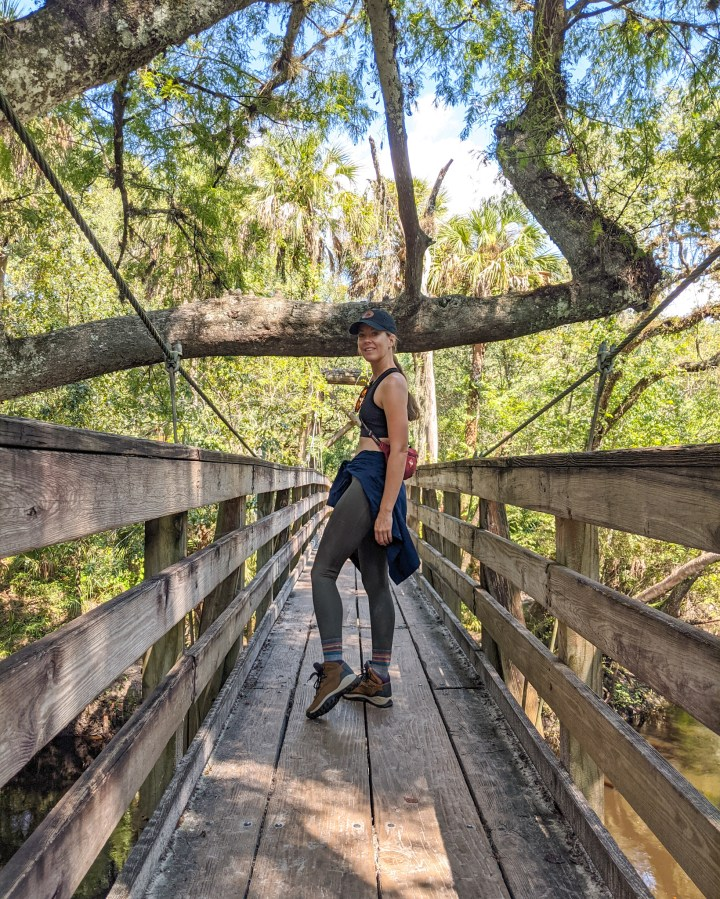 The Hillsborough River State Park on the suspension bridge
