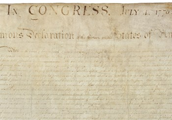 Detail of the engrossed copy of the U.S. Declaration of Independence that is on display at the National Archives, Washington, DC.