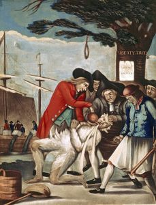 "Philip Dawe's ""The Bostonians Paying the Excise-man, or Tarring and Feathering"" (31 October 1774). Source: Library of Congress"