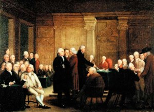 Second Continental Congress voting on independence. Source: Library of Congress