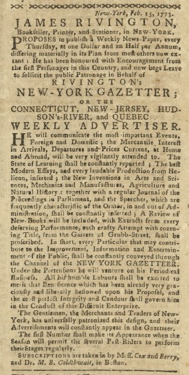 Advertisement in the Boston Gazette, March 22, 1773.