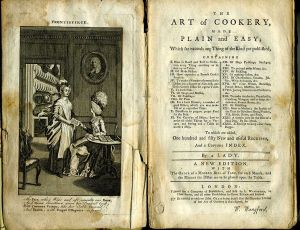 Title page and frontispiece to Art of Cookery book c. 1777.