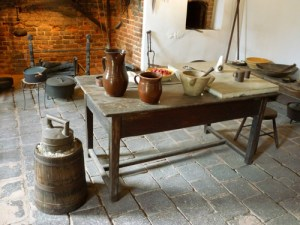Colonial-era kitchen at George Washington's Mount Vernon. Note the ice cream maker in the lower left. Courtesy of Mount Vernon.