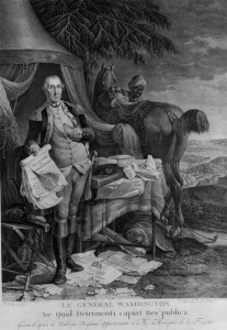 French engraving, circa 1780, showing General Washington holding the Declaration of Independence. The black man with the horse, though not identified, may represent Lee.