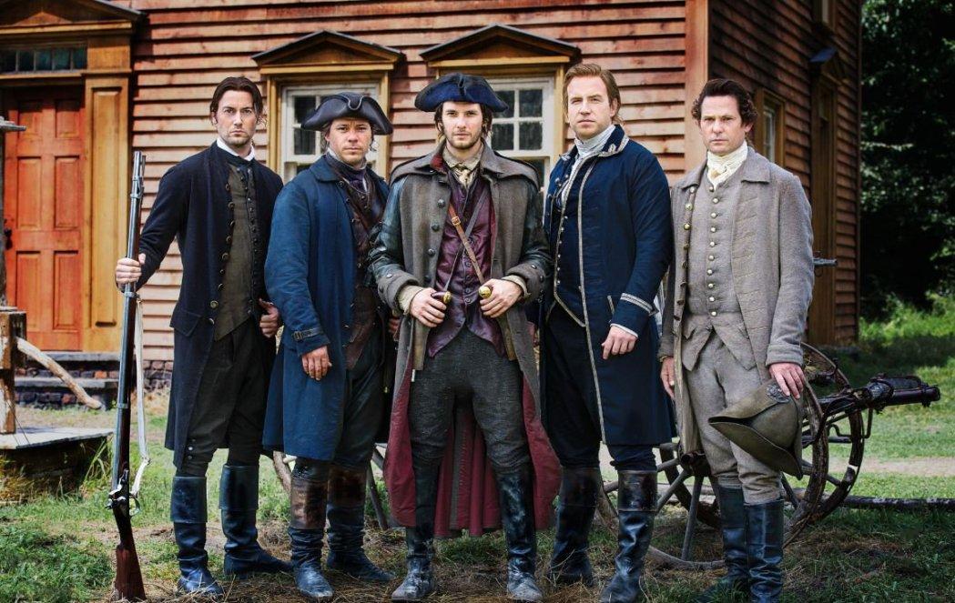 Left to right: Ryan Eggold (Joseph Warren), Michael Raymond-James (Paul Revere), Ben Barnes (Sam Adams), Rafe Spall (John Hancock), Henry Thomas (John Adams)