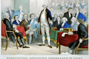 George Washington surrounded by members of the Continental Congress, which established  the Committee of Secret Correspondence on November 29, 1775 (Library of Congress).