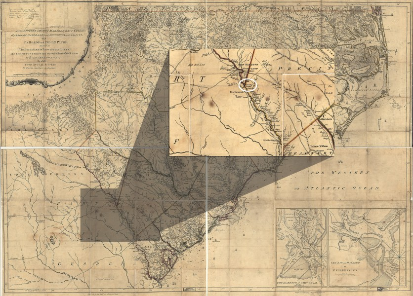 George Galphin and the War in the South  1775 1780   Journal of the     1775 map of Georgia and South Carolina edited to zoom in on Silver Bluff