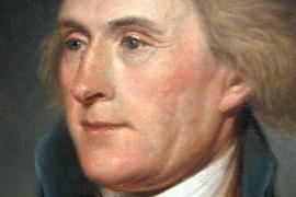 Detail of Charles Willson Peale's portrait of Thomas Jefferson, 1791. (Independence National Historical Park, Philadelphia)