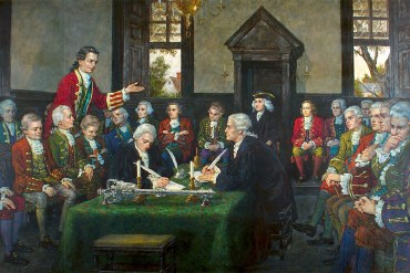 This modern painting by Jack Clifton portrays the fifth Virginia Revolutionary Convention during the adoption of the Virginia Declaration of Rights. (Library of Virginia)