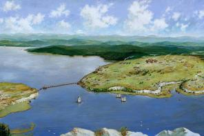 Painting of Mount Independence and Ticonderoga by Ernie Haas. Used by permission of the Mount Independence Coalition. All rights reserved.