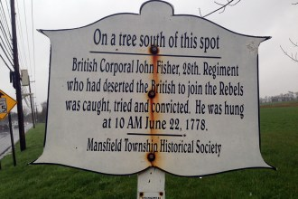 They got the wrong guy! Drummer John Fisher was executed near this marker on Columbus Road (Rt. 543) just west of Columbus, NJ. (Photo by author)