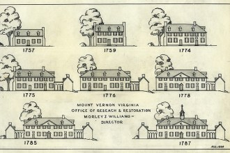 Drawings of changes to the mansion. Courtesy of George Washington's Mount Vernon.