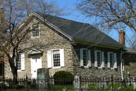Germantown Mennonite Meeting House, built 1700. On the NRHP since July 23, 1973. (Wikimedia Commons / Photo by Smallbones)