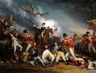 The Death of General Mercer at the Battle of Princeton, January 3, 1777 by John Trumbull, with Captain William Leslie, shown on the right, mortally wounded. (Yale University Art Gallery)