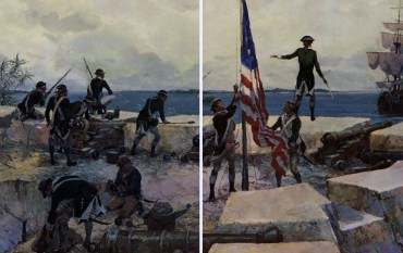 Flag Raising at New Providence 28 January 1778 by Major Charles H. Waterhouse, USMC.  Painted  for the Marine Corps Bicentennial in 1975.  (United States Marine Corps)