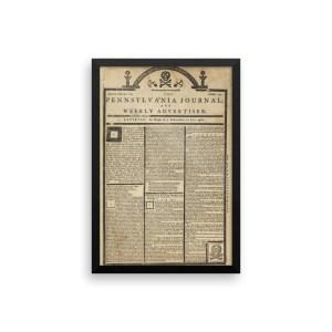 Framed Art – 1765 Pennsylvania Journal Tombstone Edition Newspaper
