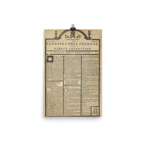 Poster – 1765 Pennsylvania Journal Tombstone Edition Newspaper